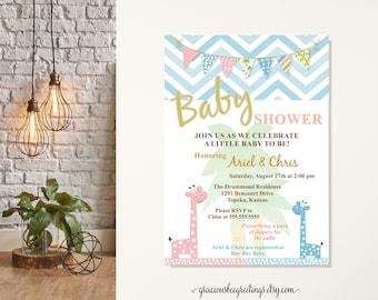 Jungle Baby Shower Invitation, Giraffe Baby Shower Invitation, Couples Baby Shower Invite, Boy or Girl Baby Shower, Safari Jungle Giraffe,