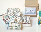 Paris Metro Map Coasters, Ceramic Tile Coasters, Special Gift Set set of 9