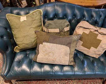 SOLD Throw pillow/Army Canvas/Military Canvas/Salvaged/Recycled/Vintage/Home Decor/Rustic Style/Boho Chic/Bohemian Decor/Industrial.