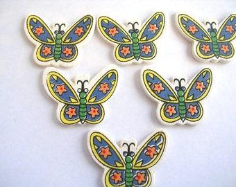 LOT 6 wood Motif APPLIQUES: 22 * 28 mm Blue/Yellow Butterfly