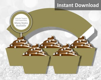 Solid Taupe Brown Cupcake Wrapper, Jungle Safari Party Decorations, Instant Download