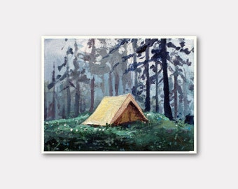 Small camping print, print on canvas, tiny painting, small canvas, tent painting, 5x7 print, explore art, gift for her, glicee canvas