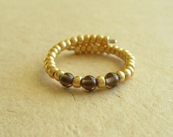 Smoky quartz gemstone memory wire beaded ring