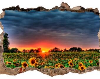 Sunflower Field 3D Wall Decal Sticker Vinyl Decor Mural