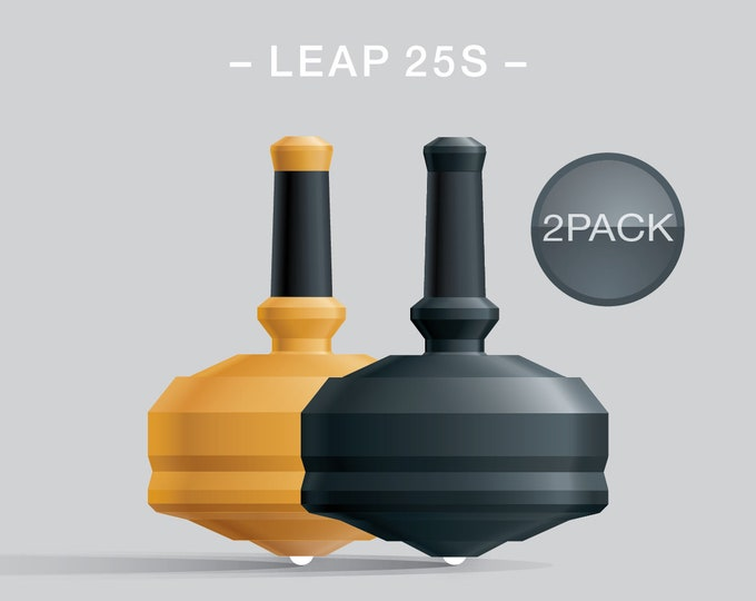 Leap 25S 2Pack Yellow-Black – Value-priced set of spin tops with dual ceramic tip and rubber grip