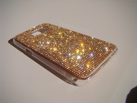 Galaxy S7 Case Rose Gold Crystals on Transparent Case. Velvet/Silk Pouch Bag Included, Genuine Rangsee Crystal Cases.