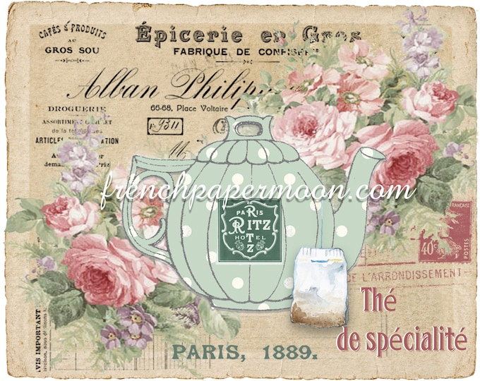 Whimsical French Tea Digital Image, Printable Teapot, Shabby Roses, French Receipt, Instant Download Graphic Transfer