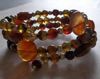 Agate Earthtone Memory Wire Bracelet