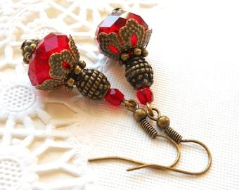 red dangle earrings red earrings red crystal earrings dangle earrings bronze filigree earrings victorian earrings vintage style earrings