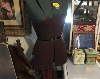 1940s Tailors Adjustable Dress Form Mannequin, Solid Steel Base