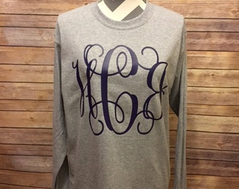 Gray Monogrammed Ladies Shirt, Women's Large Monogram Shirt, Adult Monogrammed Shirt, Full Chest Monogram Shirt, Preppy Monogram Shirt