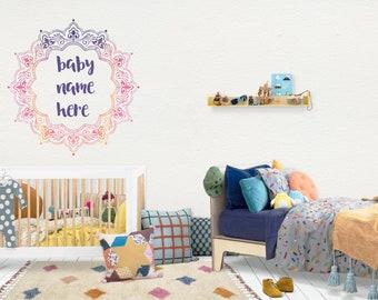 Mandala / Wall Vinyl Decal Sticker / Nursery Baby Toddler Kid Children Room / Decor Decoration / Gift Present / Personalized Custom