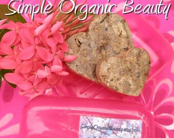 Fragrance Free Soap Vegan Combo Skin 1 Round Bar African Black Soap w/African Shea Butter, 1 Heart Shaped Bar  Raw African Black Soap
