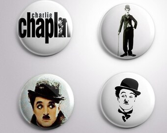 4 CHARLIE CHAPLIN COMEDY  Comic Actor - pins / buttons / magnets - Different options
