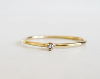 Tiny diamond ring | READY TO SHIP in size 6 | very thin gold ring |round stacking band | diamond stacking ring|1.5mm diamond ring|