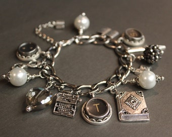 Word Count Vintage Typewriter Key Charm Bracelet - Stainless Steel. Gift for Writers. Gift for Readers. Upcycled.