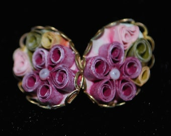 Vintage EARRINGS Hand Made Floral Clip On rare 50s 60s retro cute 70s 90s sexy women costume crazy awesome hipster trendy beautiful htf vtg
