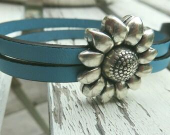 sunflower leather cuff bracelet
