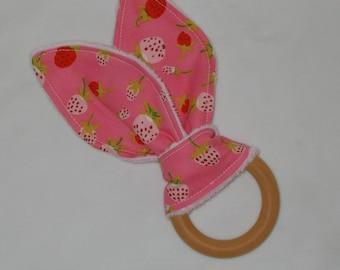 New!  Pink Strawberries Rabbit Ears Wooden Teething Ring