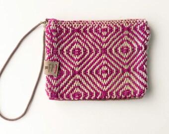 Fushia Handwoven Fabric Wristlet