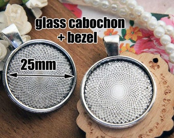 Vintage Silver Cabochon bezels bezel cups cameo bases kits with 25mm Clear Glass Cabochons Vintage jewelry making PTR25-A1233VS