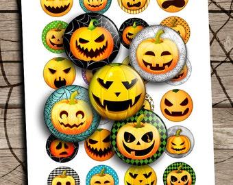 "Pumpkin Round Circles 12mm 25mm 1.5"" 1"" Halloween Printable Digital Collage Sheet Printable Download"