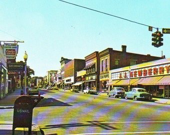 Vintage Main Street of Wellsville, New York,  Stamped Postcard 1960s or 70s