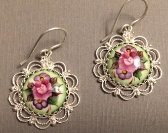 "Enamel Russian Rostov Finift Vintage Style Earrings ""Carnaval"" hand painted. Green Floral"