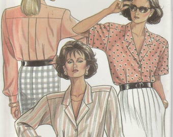 Blouse Pattern Short or Long Sleeved Button Up Misses Size 8 - 10 - 12 - 14 - 16 - 18 uncut New Look 6316