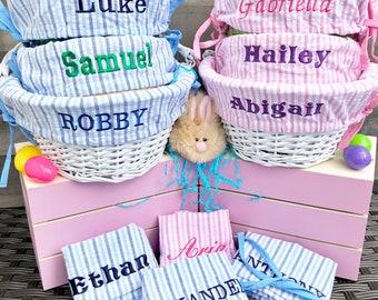 Easter basket etsy easter basket liner embroidered with name easter basket cover large negle Images