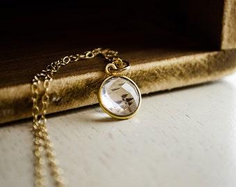 Bezel Crystal Necklace - Framed Quartz Necklace | Clear Quartz | Everyday Simple Jewelry
