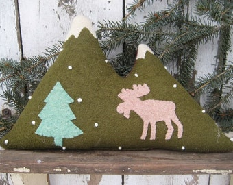 Wool Mountain Pillow with Moose
