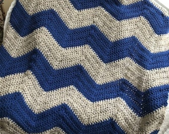 crochet chevron zigzag ripple baby toddler child blanket afghan wrap wheelchair stripes VANNA WHITE yarn adult lap robe blue beige boy girl