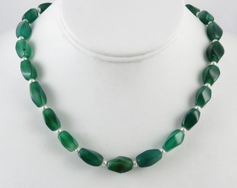Green Onyx and Cultured Pearl Necklace