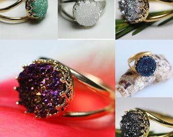 Quartz Druzy Ring,Ring Quartz Druzy,Deep blue druzy quartz ring,White,Gray,Black,Purple,Green,14 karat gold filled,925 sterling silver