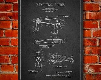 1956 Fishing Lure Patent, Canvas Print, Wall Art, Home Decor, Gift Idea