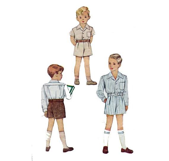 40er Jahre Kleinkind jungen Anzug Shorts & Hemd kurze oder