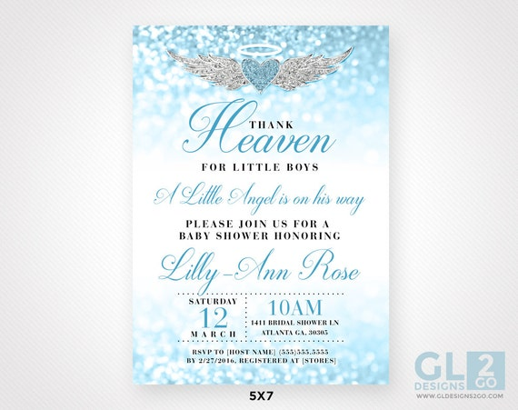 Thank Heaven for Little Boys Baby Shower Invitation