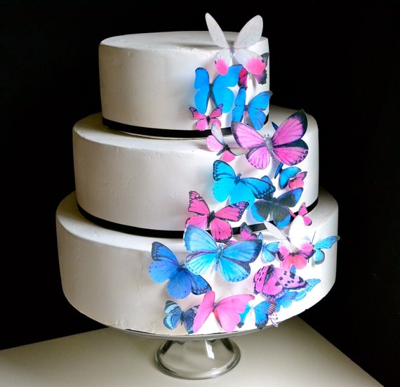Edible Butterfly Cake & Cupcake Toppers - Assorted Pink and Blue set of 30 - Edible Butterflies