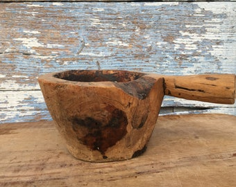 Antique Wood Mortar ,Old Primitive Mortar,Kitchen Decor ,Wood Bowl