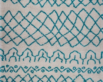 Shaggy Ivory Turquoise Vancouver Area Rug