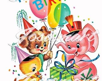 Vintage Digital Download Birthday Party Baby ANimals Kawaii Vintage Image Collage Large JPG