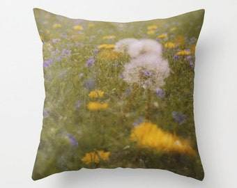throw pillow cover photo pillow cover decorative accent pillow spring flower photography dandelion yellow nursery decor floral home decor