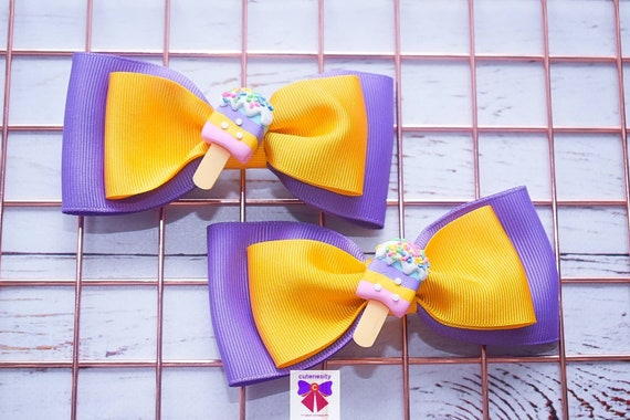 Pair of yellow and lilac ice cream hair clips  - Kids / Toddlers / Girl pony tail clips / barrettes / pig tail bows / birthday bow / party