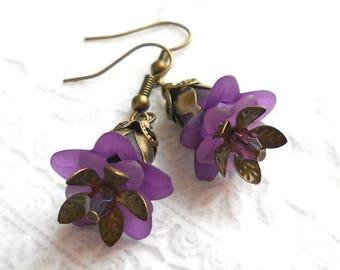 purple flower earrings filigree earrings purple earrings blue flower earrings floral earrings purple floral earrings lucite flower