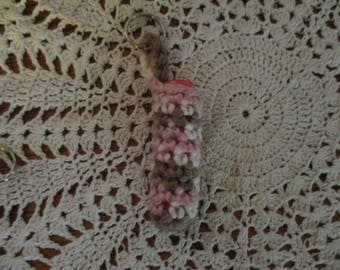 Crocheted Pink and Brown Camouflage Lip Balm Keychain