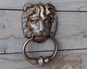Vintage Lion Door Knocker / Aluminum Lion Head Door Knocker / Vintage Door Knocker / Lion Face Door Handle /  Old door knocker