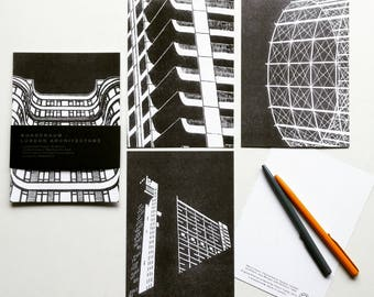 London Architecture Series: Risoprinted Notecards/Postcards - Set of 4