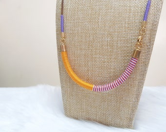 Summer Necklace, Colorful Necklace, 80s Necklace, Summer Jewelry for Women, Orange Necklace, Rope Necklace, Bohemian Necklace for Girls