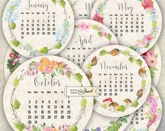 12 months - Calendar 2016 - 2.5 inch circles - set of 12 - digital collage sheet - pocket mirrors, tags, scrapbooking, cupcake toppers